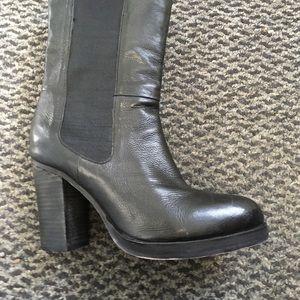 High heel chunky leather boots